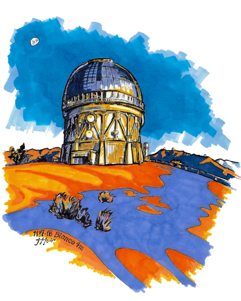 "alt=""Marker drawing of the Blanco telescope, colored with bright blues and oranges."""